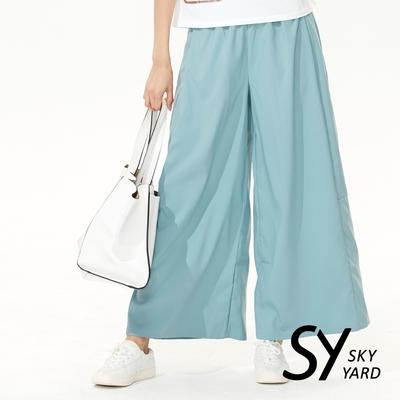 【SKY YARD 天空花園】簡約壓褶休閒長褲寬褲-湖水綠