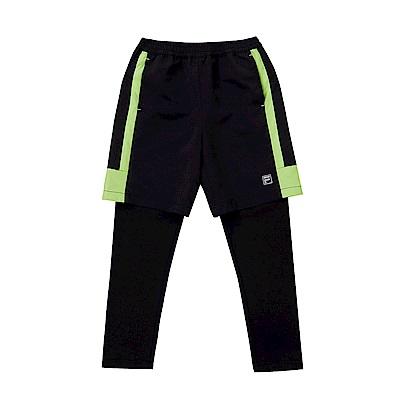 FILA KIDS 童抗UV吸濕排汗假兩件長褲-黑 1PNS-8303-BK
