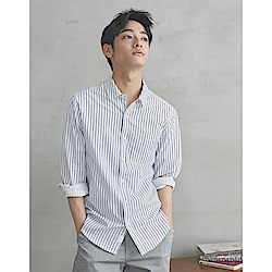 CACO-舒適棉質條紋襯衫-男【SPA039】