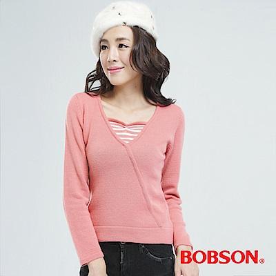 BOBSON  女款粉紅毛衣
