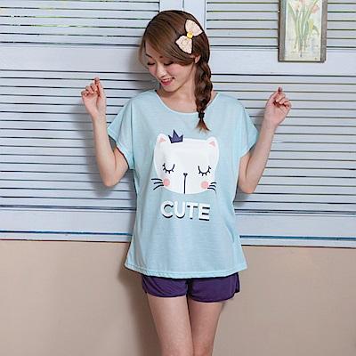 睡衣 彈性棉質短袖兩件式睡衣(C01-100548藍綠大地貓皇) Young Curves