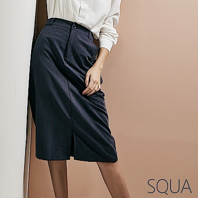 SQUA 前開叉後鬆緊腰半身裙-二色