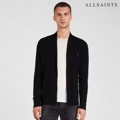 ALLSAINTS MODE MERINO 純羊毛公羊頭骨刺繡針織外套-黑