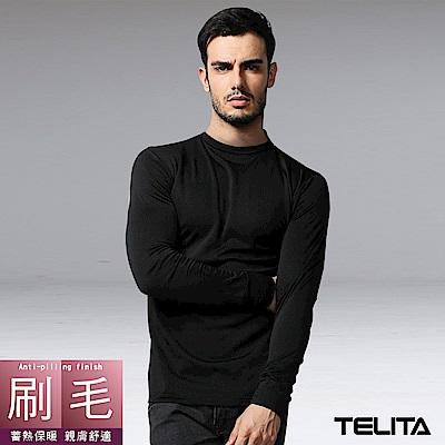 型男刷毛蓄熱保暖長袖圓領休閒T-黑TELITA
