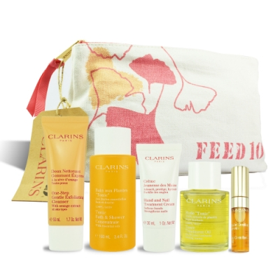 CLARINS 芳香調和身體旅行6件組 (沐浴精+潔顏+修護霜+護理油+美唇油)