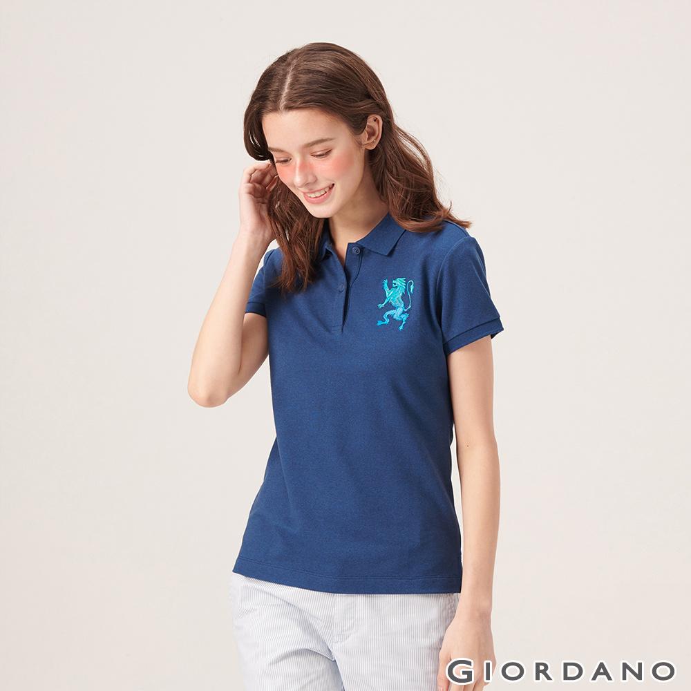 GIORDANO 女裝勝利獅王漸層刺繡彈力萊卡POLO衫-41 雪花深鯨魚藍