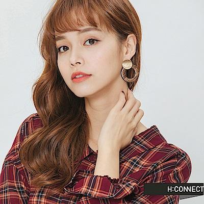 H:CONNECT 韓國品牌 -木紋造型耳環