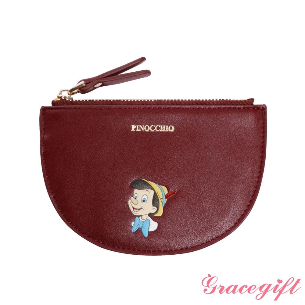 Disney collection by grace gift-迪士尼小木偶半圓零錢包 深紅