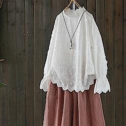 甜美系花瓣領繡花純棉蕾絲t恤長袖上衣-設計所在