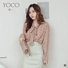 東京著衣-YOCO 良家不婦女碎花綁帶領雪紡襯衫(共二色)