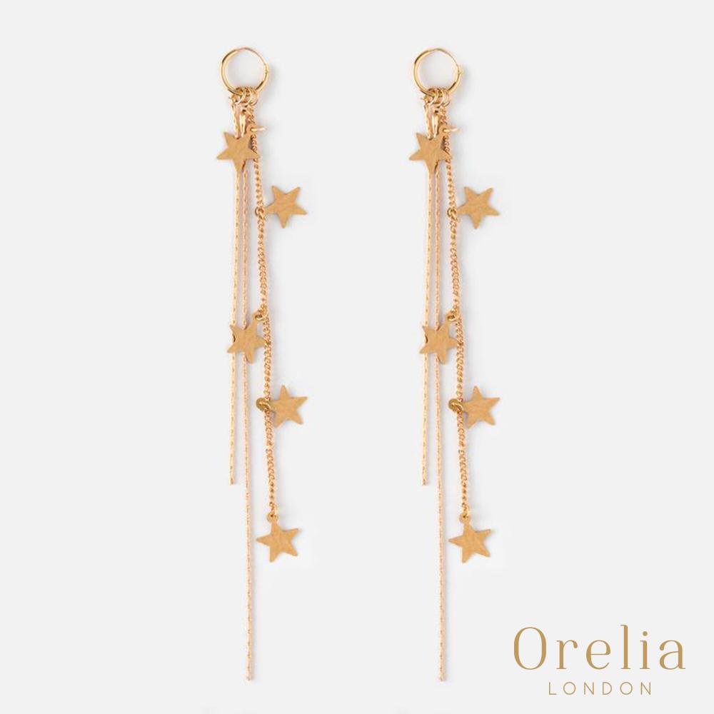 Orelia 英國倫敦 璀燦瀑布鍍金墜飾耳環