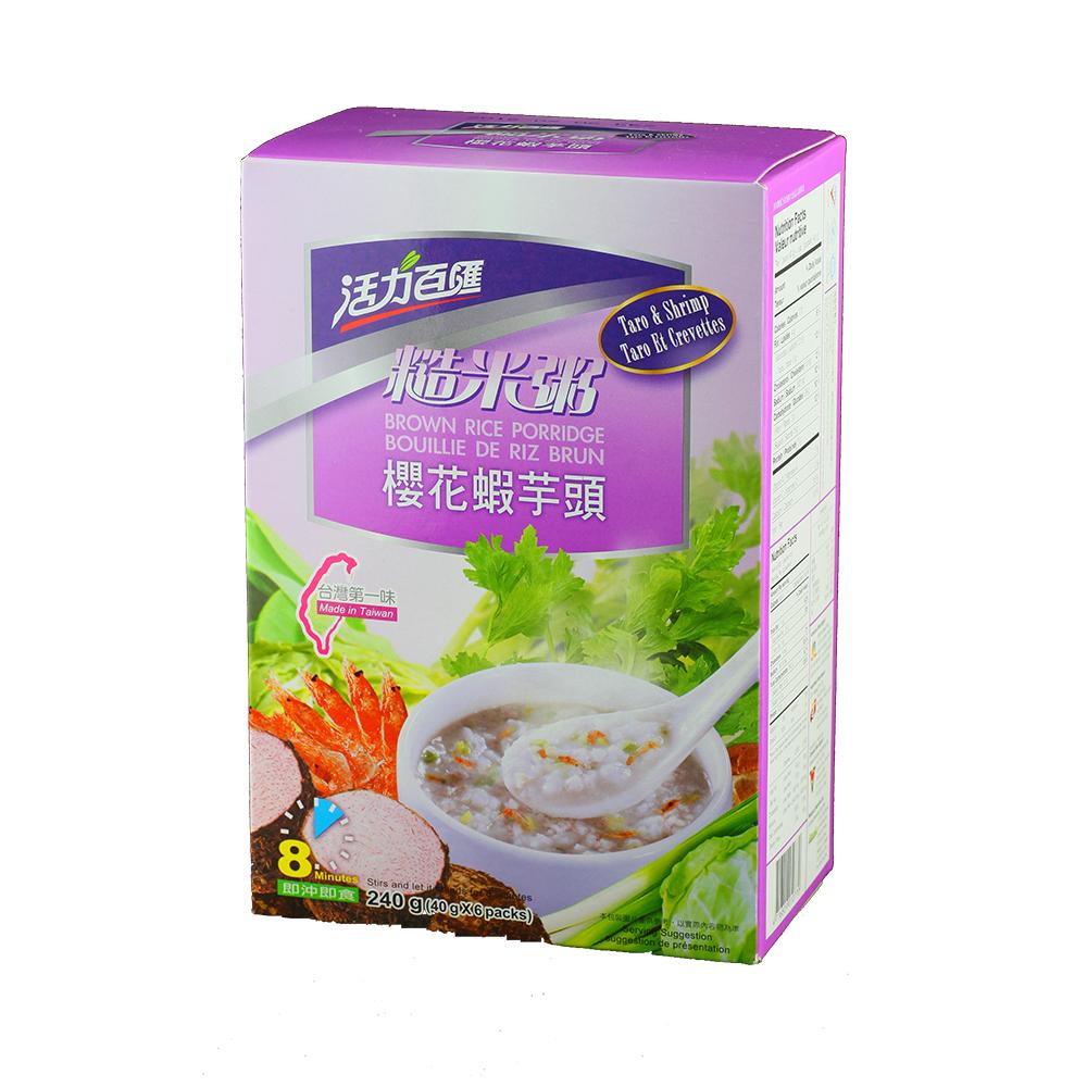 活力百匯 櫻花蝦芋頭糙米粥(40gx6入)