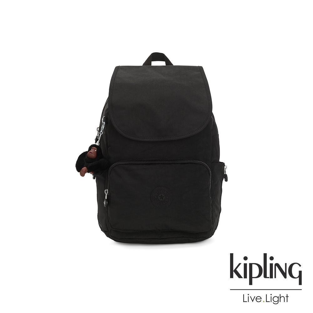 Kipling 質感黑掀蓋拉鍊後背包-CAYENNE