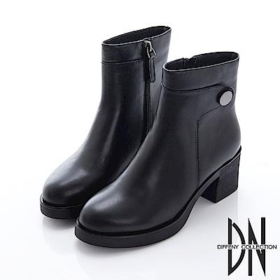 DN 簡約時尚 純色真皮毛裡拉鍊厚底踝靴-黑 @ Y!購物