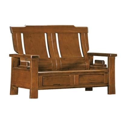 綠活居 魯普典雅風實木抽屜二人座沙發椅(二抽屜設置)-133x88x104cm免組