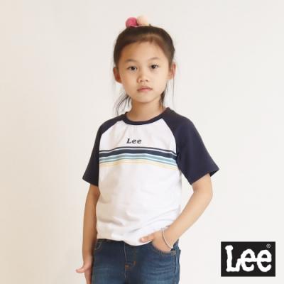 Lee 童裝-Logo復古撞色短袖圓領Tee恤-拼接藍