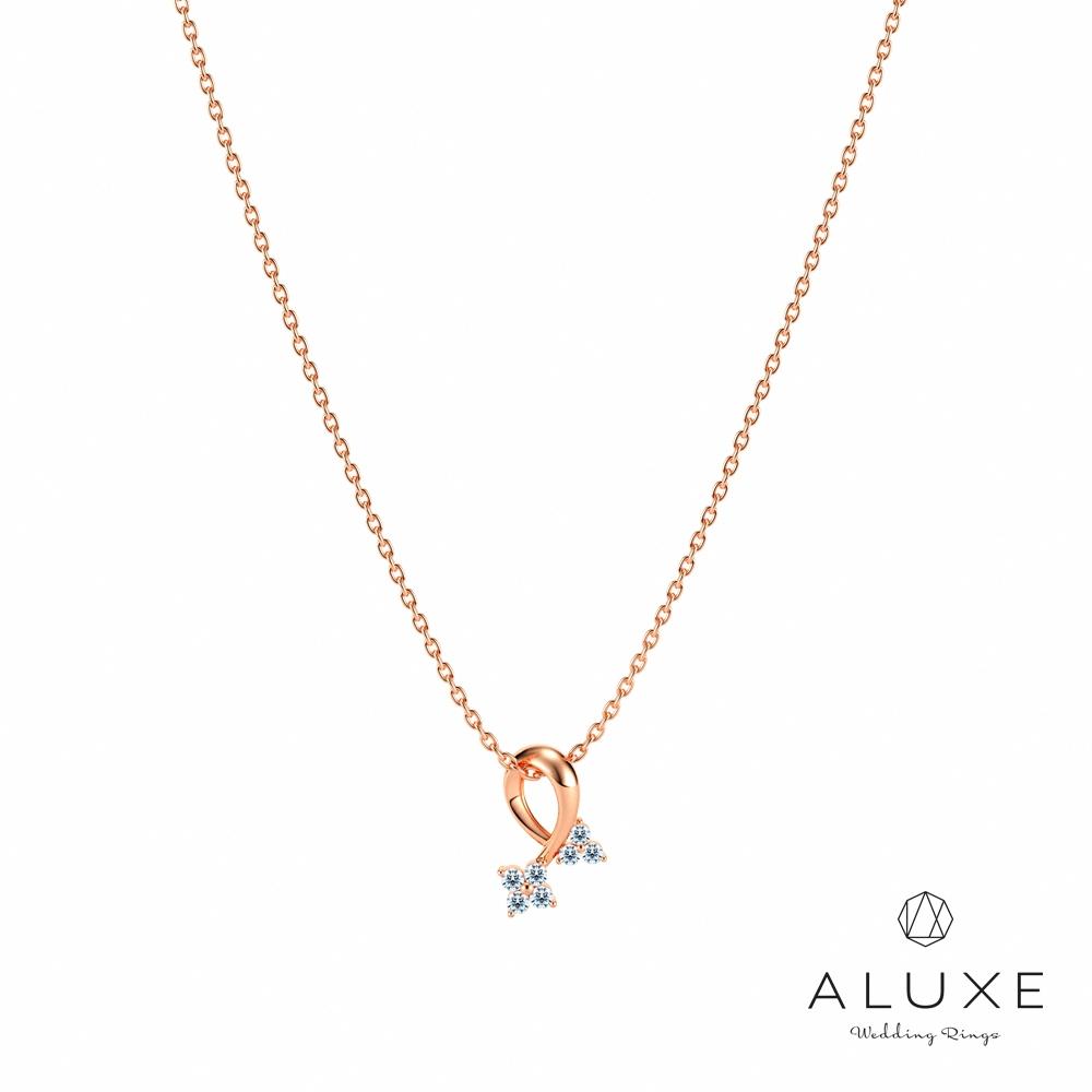 ALUXE亞立詩 Shine系列10K 0.07克拉鑽石項鍊