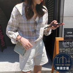造型翻領格紋襯衫-2色-TMH