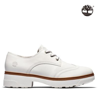 Timberland 女款白色全粒面綁帶牛津跟鞋|A219Y