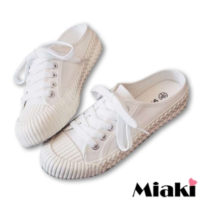 Miaki-穆勒鞋韓風學院厚底帆布鞋-白