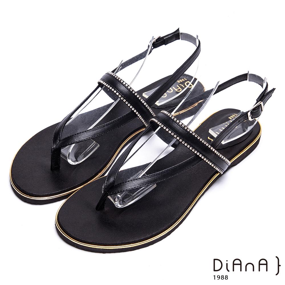 DIANA 夏日浪漫-水鑽繞帶夾腳平底涼拖鞋-黑