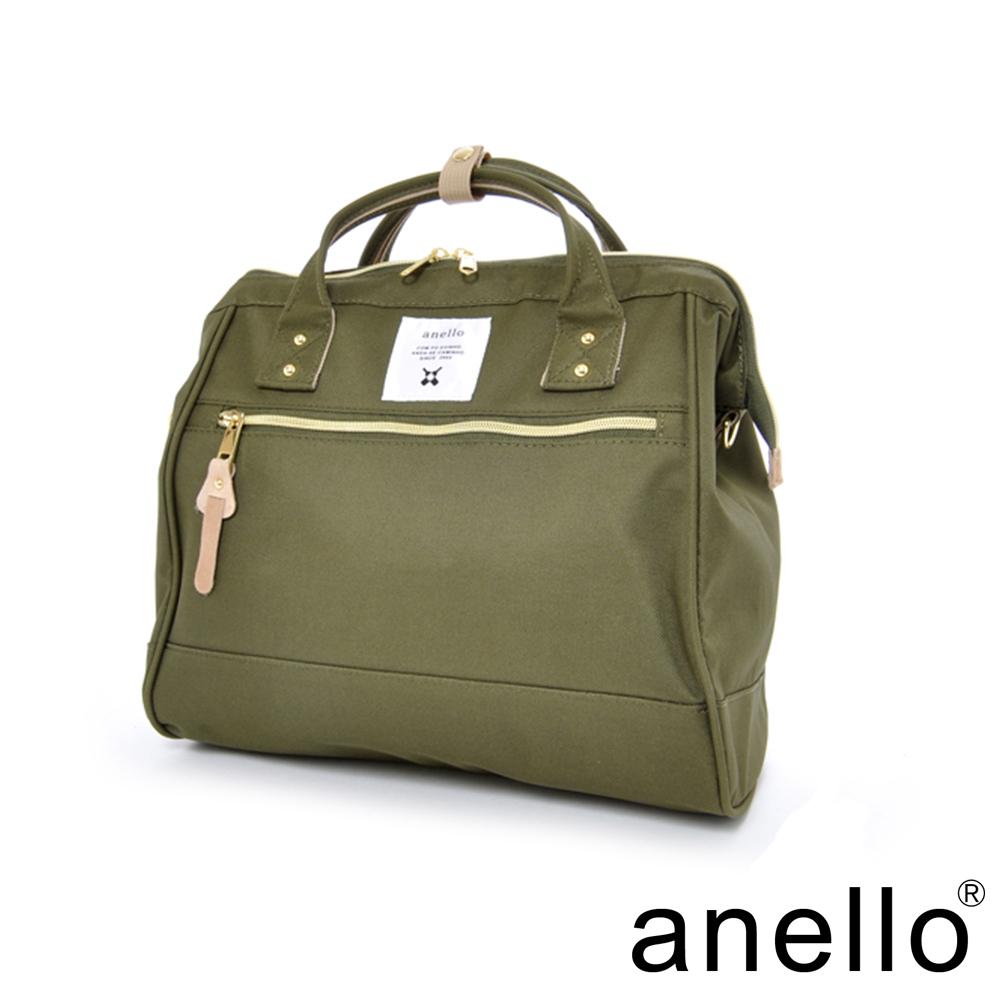 日本正版anello  輕便型波士頓 兩用手提斜背包  卡其綠  L