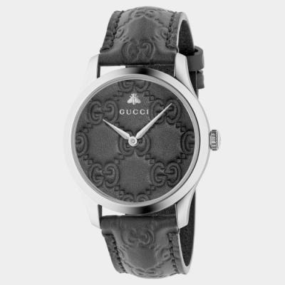 GUCCI 古馳 G-Timeless 雙G皮紋手錶(YA1264031A)x黑x38mm