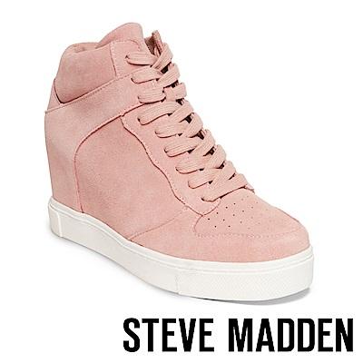 STEVE MADDEN-NOAH 內增高真皮綁帶休閒靴-粉紅