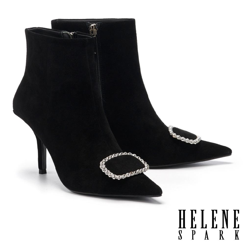 短靴 HELENE SPARK 高尚優雅晶鑽長方釦美型尖頭高跟短靴-黑