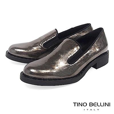 Tino Bellini 義大利進口帥勁金屬皮紋樂福鞋 _ 綠