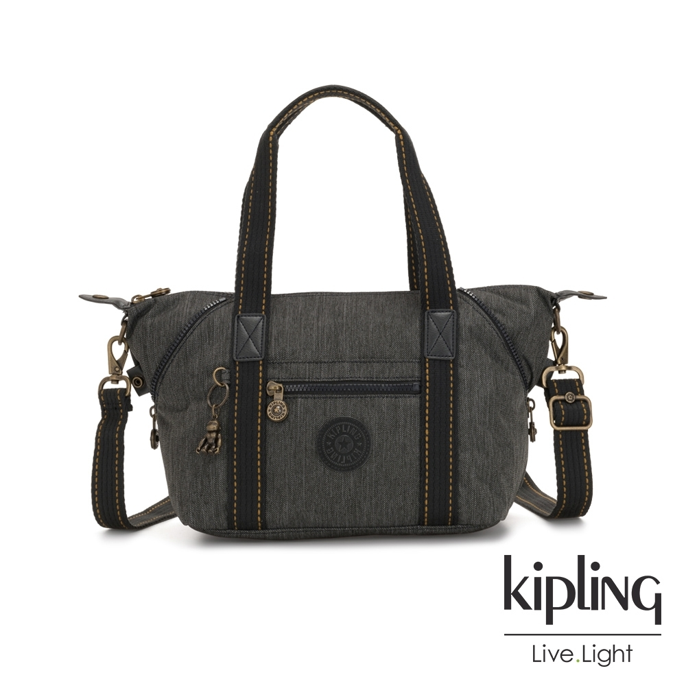 Kipling 復古質感丹寧黑手提側背包-ART MINI