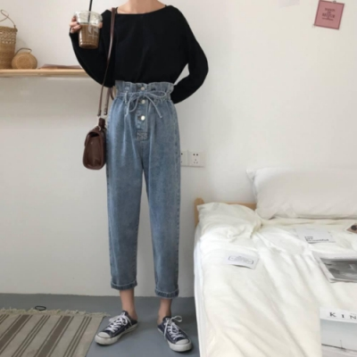 La Belleza高腰排釦花苞荷葉壓折鬆緊腰綁繩水洗寬褲牛仔褲