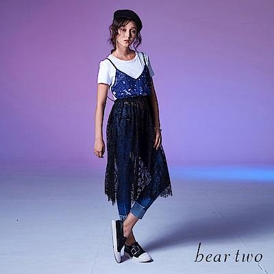 beartwo 夢幻繁星印花短版T搭蕾絲優雅長版洋裝(白色)