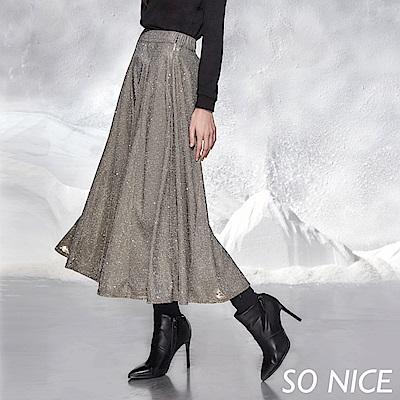 SO NICE亮麗光澤感金蔥圓裙