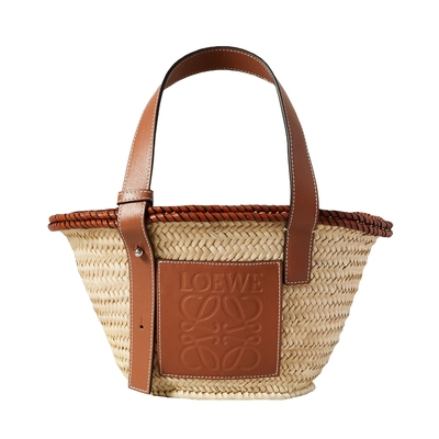 LOEWE Small Inlay Basket 小款 棕櫚葉拼小牛皮 托特包 編織包 草編包 原色/棕褐色