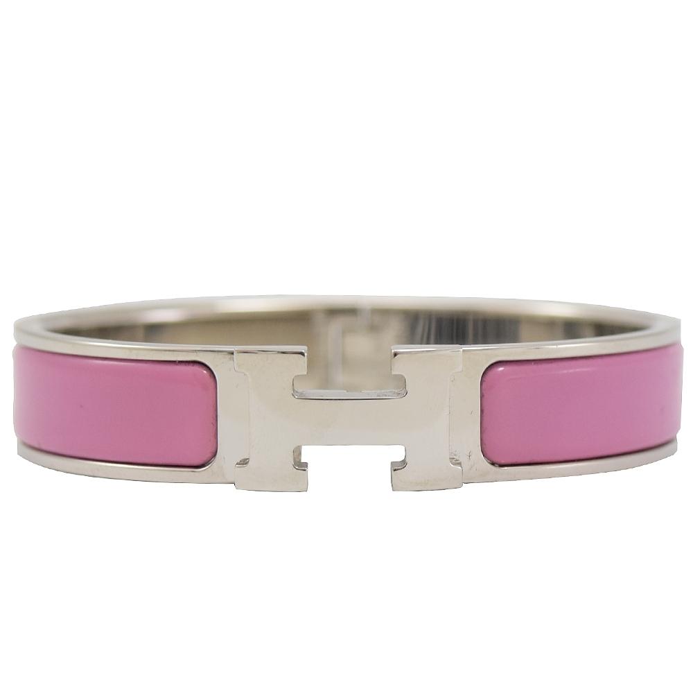 HERMES CLIC H LOGO琺瑯扣式手環(銀/粉紫)
