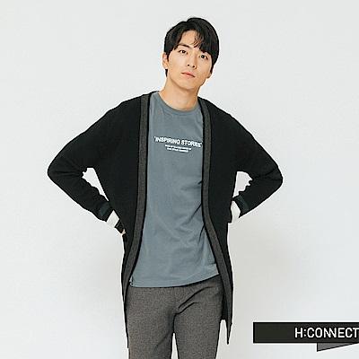 H:CONNECT 韓國品牌 男裝-滾邊雙口袋開襟外套-黑