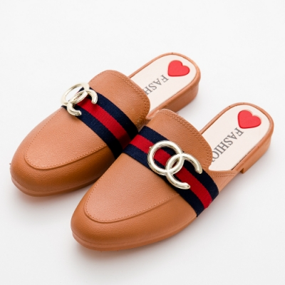 River&Moon穆勒 時尚品牌風穆勒防水涼拖雨鞋 焦糖棕