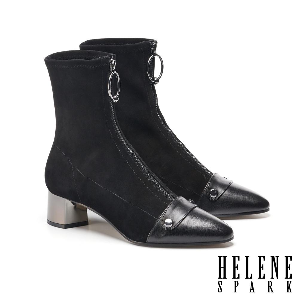 短靴 HELENE SPARK 摩登純色金屬拉環異材質羊皮尖頭高跟短靴-黑
