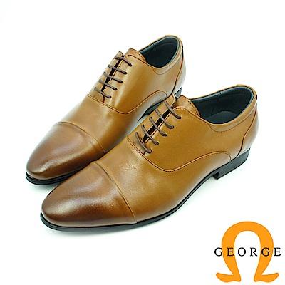 【GEORGE 喬治皮鞋】真皮橫飾漸層綁帶紳士鞋皮鞋-棕