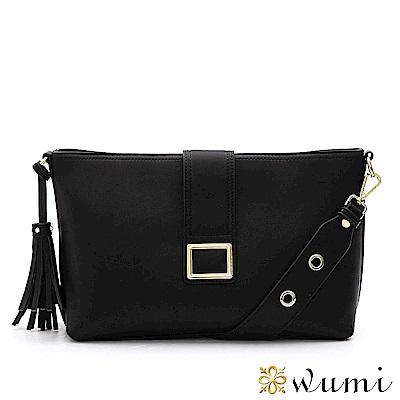 WuMi 無米 克莉絲汀流蘇方釦包 時尚黑