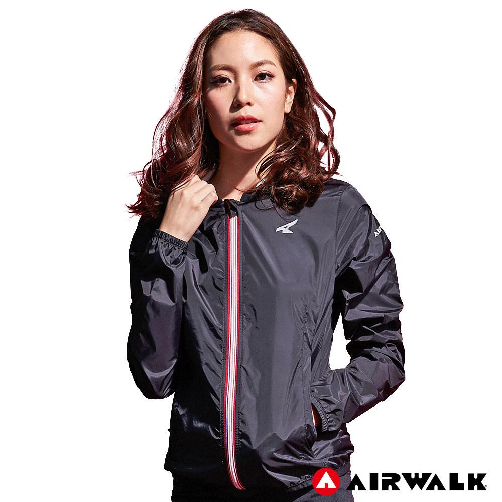 【AIRWALK】女款連帽風衣外套-黑