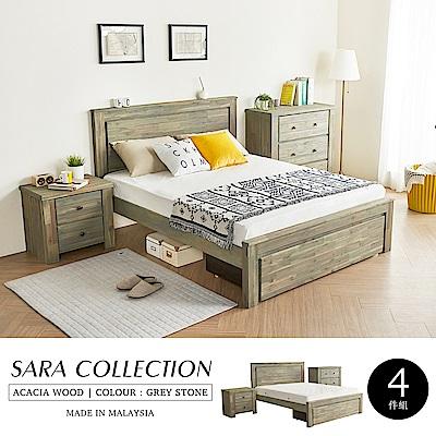 H&D 莎拉鄉村系列實木雙人房間組-4件式(床架+床頭櫃+三抽櫃+床墊)