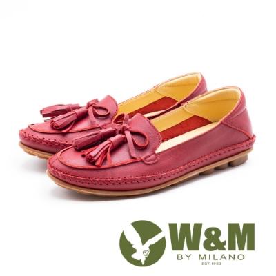 W&M 流蘇柔軟車縫豆豆鞋 女鞋-粉(另有藍)