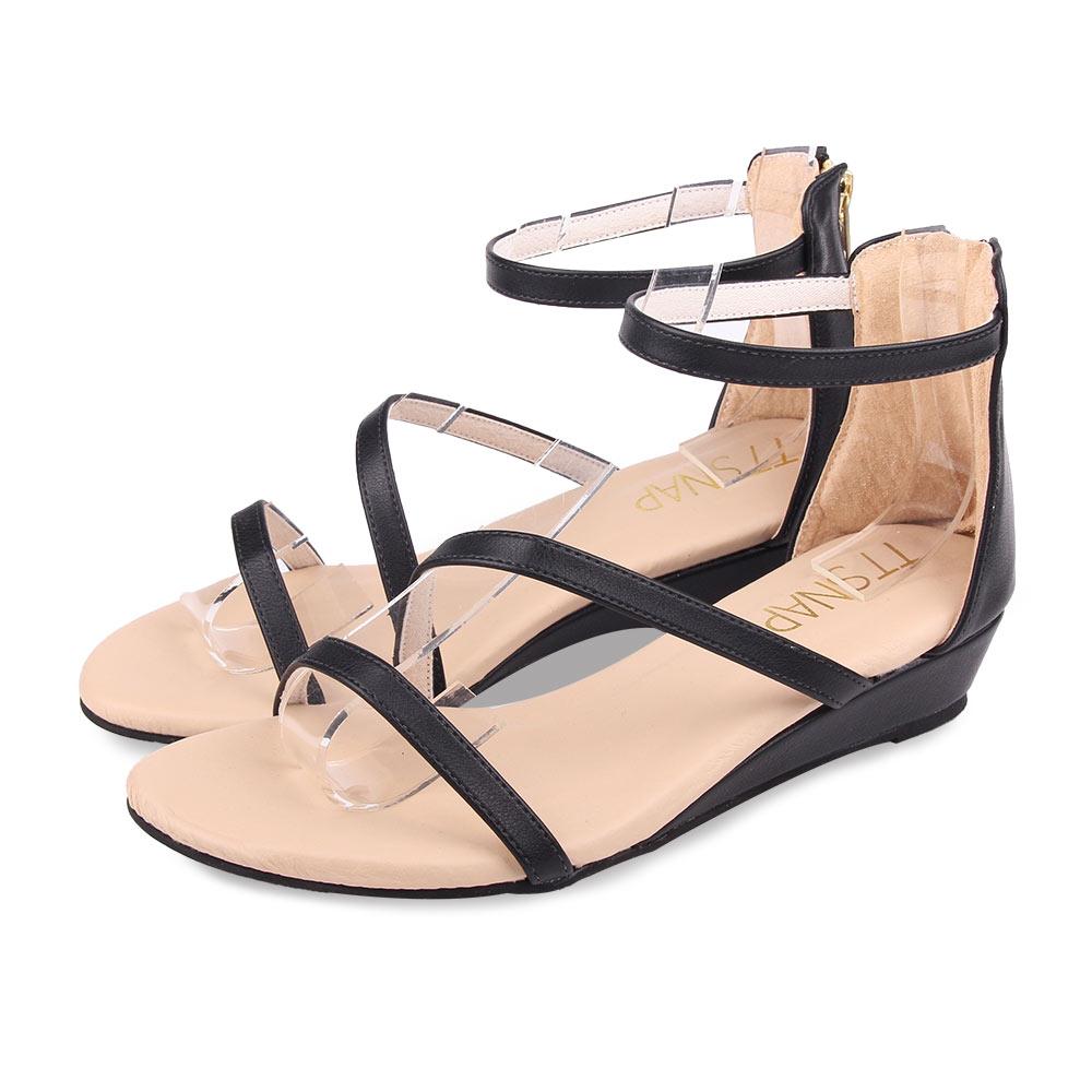 TTSNAP涼鞋-波浪緞帶簡約低跟楔型涼鞋 黑