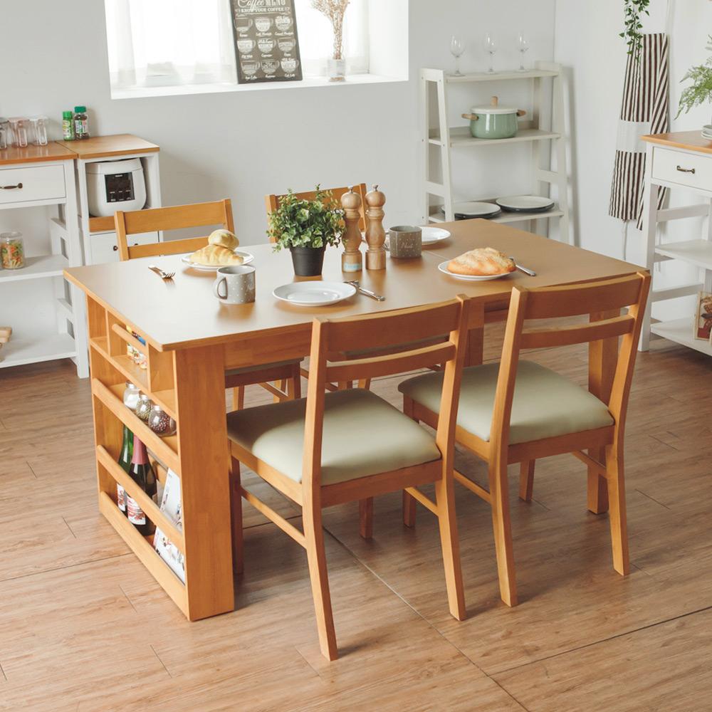 Home Feeling 維納斯伸縮收納餐桌椅組-1桌4椅(2色)