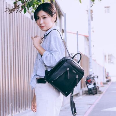 【Maria Carla】雙拉鍊素色質感後背包_漆黑_都會極簡系列