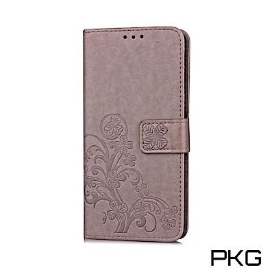 PKG OPPO R15Pro 側翻式皮套-精選皮套系列-幸運草-灰