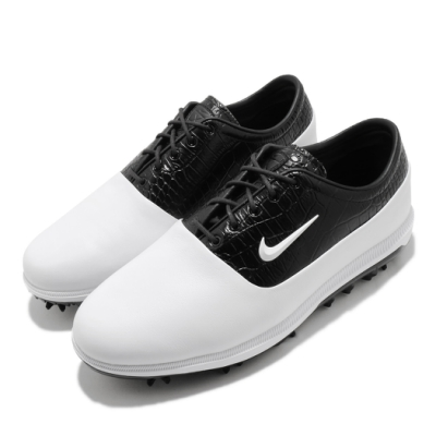Nike 高爾夫球鞋 Zoom Victory Tour Wide 寬楦 男鞋 運動 氣墊 避震 包覆 皮革 簡約 白 黑 AQ1478104