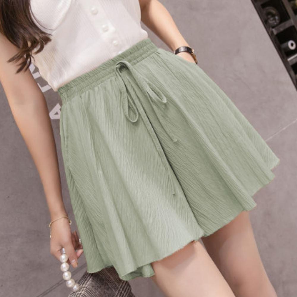 La Belleza素色側口袋鬆緊腰抽繩波浪裙擺棉麻闊腿褲裙 product image 1